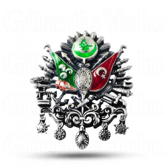 Özel Tasarım Osmanlı Devlet Arması 925 Ayar Gümüş Broş