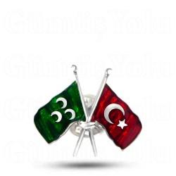 Osmanlı ve Türk Bayrağı 925 Ayar Gümüş Rozet