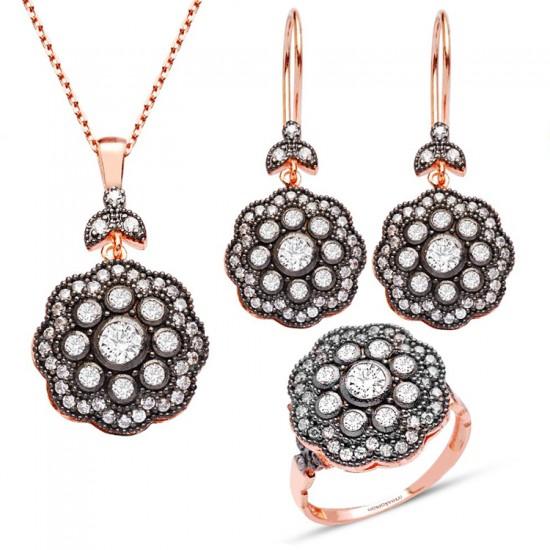 925 Ayar Gümüş Set Takım Divanhane Elmas Modeli