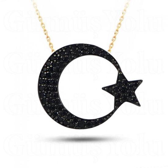 925 Ayar Gümüş Kolye Ay Yıldız Model Zirkon Taşlı