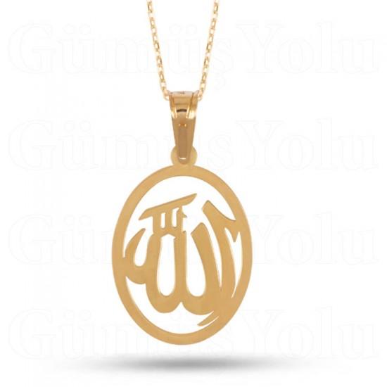 Allah Yazılı Kolye 925 Ayar Rose Gümüş