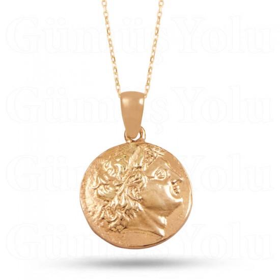 Antik Bizans Parası Kolye 925 Ayar Rose Gümüş