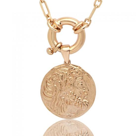 Antik RomaSikkesi Rose Gümüş Kadın Kolye 925 Ayar