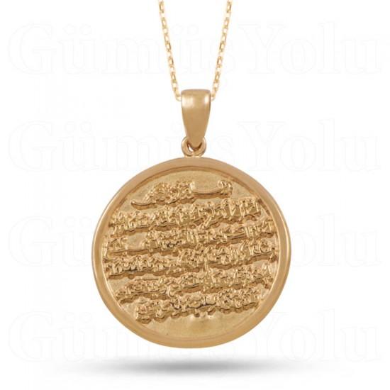 Ayetel Kürsi Dualı Kolye 925 Ayar Rose Gümüş