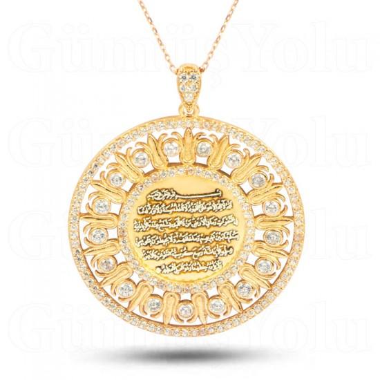 Ayetel Kürsi Yazılı 925 Ayar Rose Gümüş Kadın kolye