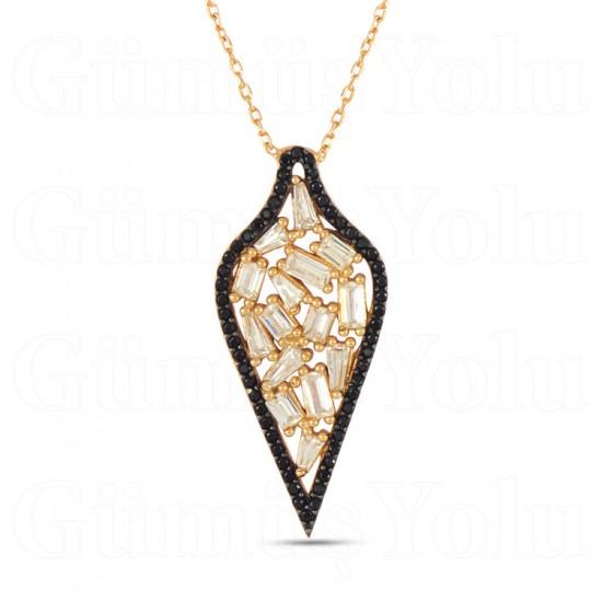 Baget Kesim Zirkon Taşlı Gümüş kadın Kolye 925 Ayar