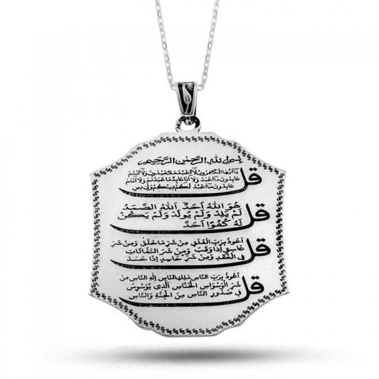 Felak ve Nas Suresi 925 Ayar Gümüş Kolye
