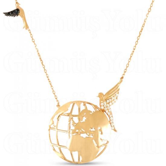 Güvercin Figürlü Dünya Gümüş Kolye 925 Ayar
