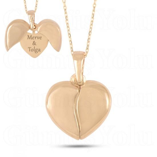 İsimli Açılan Kalp Kolye 925 Ayar Gümüş
