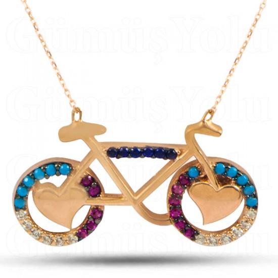 Kalp & Bisiklet Figür 925 Ayar Rose Gümüş Kadın kolye