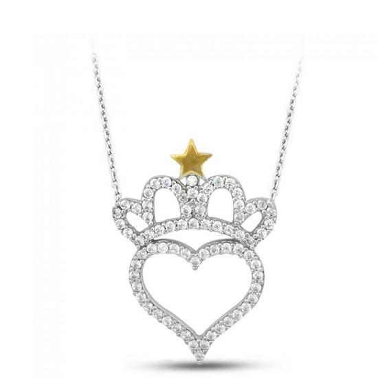 Kral Tacı Kalp 925 Ayar Gümüş Kolye
