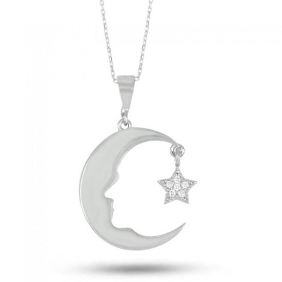 M. Kemal Atatürk Silüet Ay Yıldız 925 Ayar Gümüş Kolye