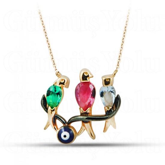Özel Tasarım Üç Kuş Renkli Taşlı Rose Gümüş Kolye