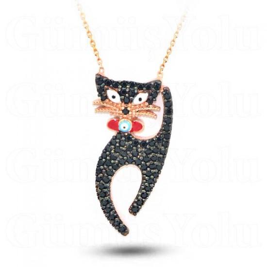 Siyah Taşlı Mineli Gümüş Kedi Kolye