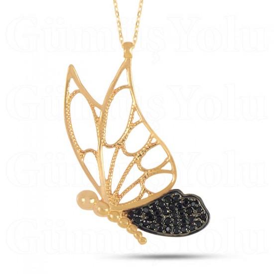 Siyah Zirkon Taşlı Kelebek Kolye 925 Ayar Gümüş