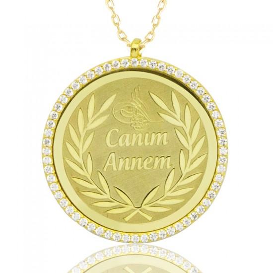 Tuğralı Canım Annem Madalyon Gümüş Kolye 925 Ayar