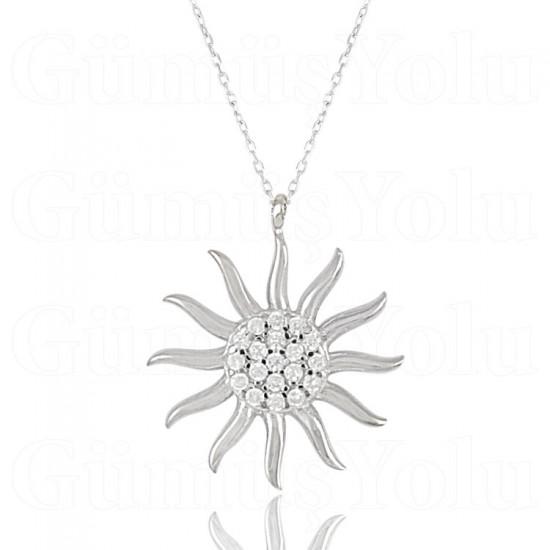 Zirkon Taşlı Güneş Figür Gümüş Kadın Kolye 925 Ayar Gümüş