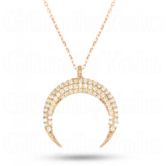 Zirkon Taşlı Hilal Figürlü Kolye 925 Ayar Rose Gümüş