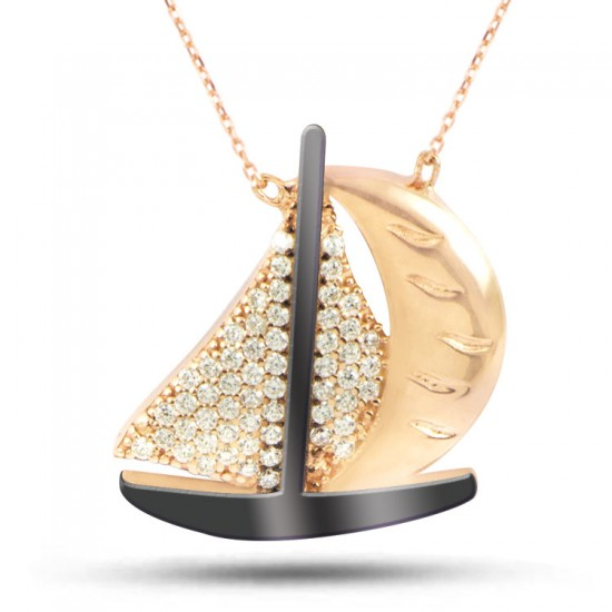 Zirkon Taşlı Yelkenli Model 925 Ayar Rose Gümüş Kadın kolye