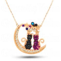 Ay ve Kedi Figürlü 925 Ayar Rose Gümüş Kadın Kolye
