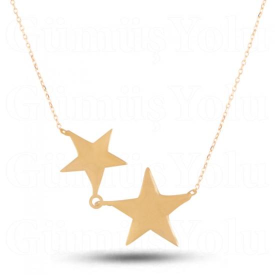 Yıldız Figür 925 Ayar Rose Gümüş Kadın Kolye