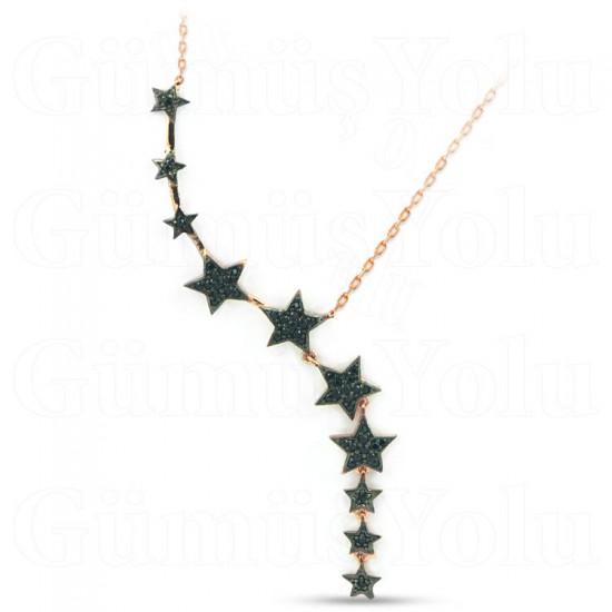 Yıldız Kümesi Model Siyah Zirkon Taşlı Gümüş Kolye